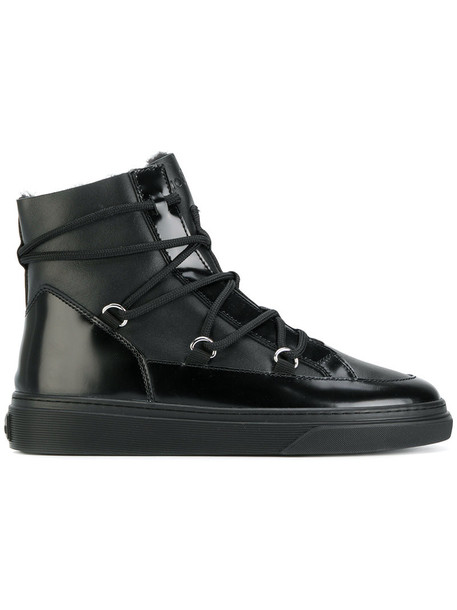 Hogan cross women lace leather black shoes