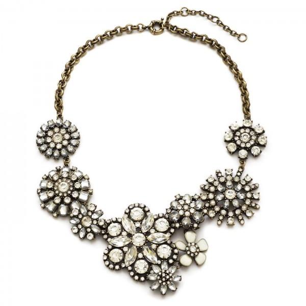 Sparkly Crystal Flowers Bib Statement Necklace | Choker