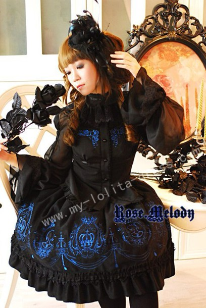 dress lolita black blue blouse