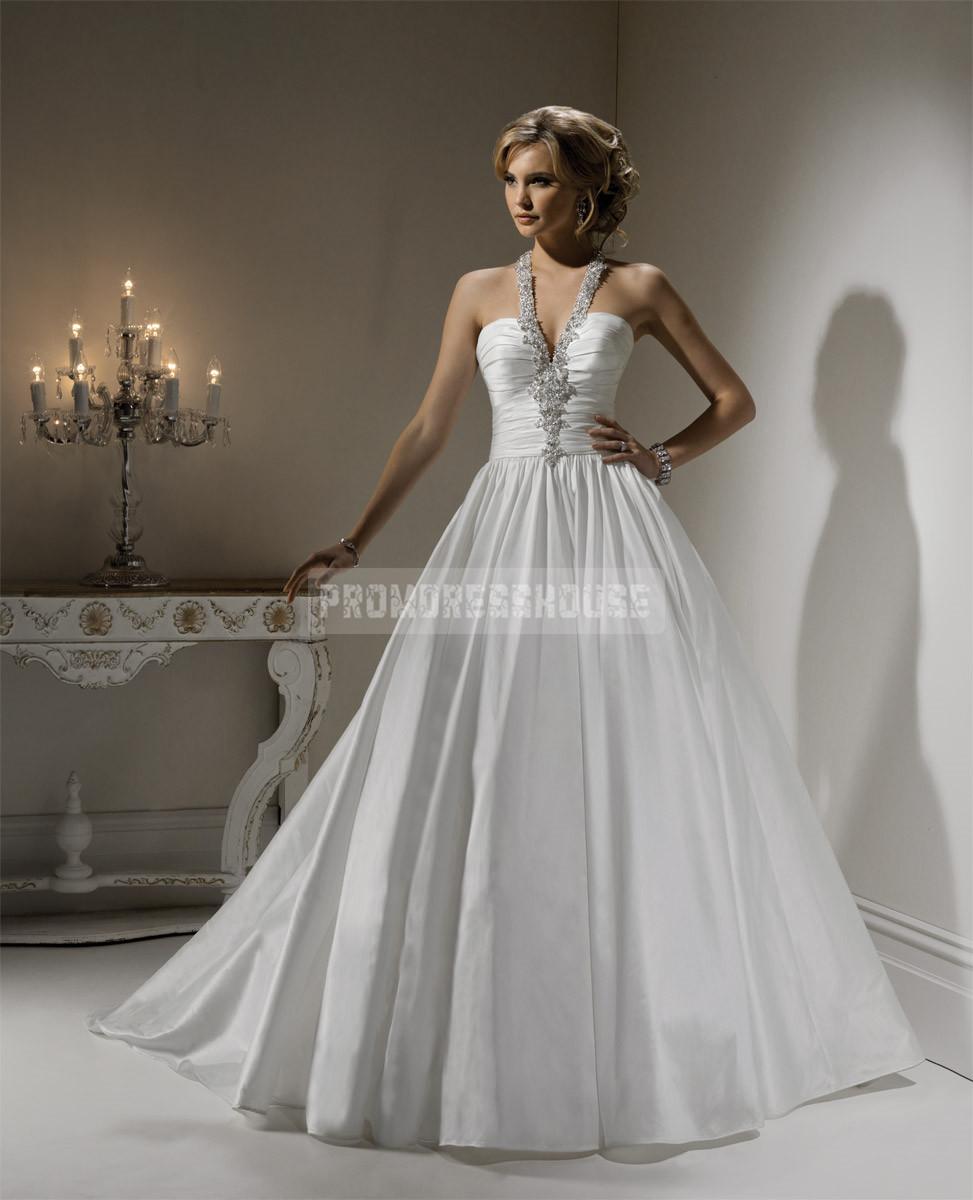 Fantastic halter sweep train taffeta beading wedding dress