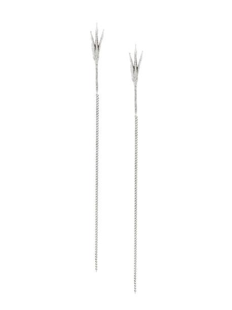 long women earrings gold white grey metallic jewels