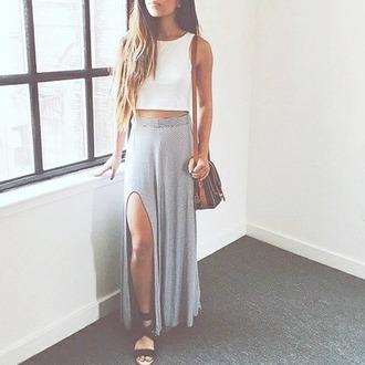 skirt maxi slit gray