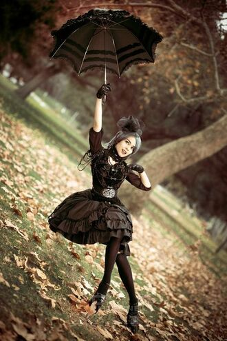 dress goth gothic lolita lolita black dress black umbrella wood