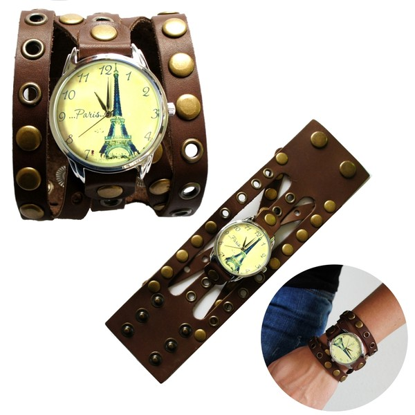 jewels watch watch brown paris eiffel tower ziziztime ziz watch