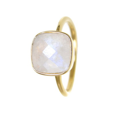 Moonstone rings - Stackable Semi Precious Gemstones Cushion rings - Bezel rings - Pradman Collections