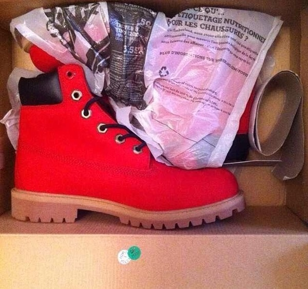 shoes boots timberlands red tims combat boots red