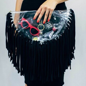 bag black and white fringes clear clutch