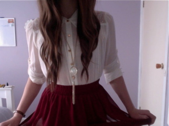 shirt lace blouse skirt red skirt white blouse gold buttons