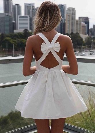 dress white white dress cute bow bow dress mini mini dress short dress short