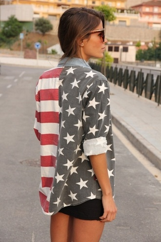 shirt tumblr american flag jacket stars and stripes red white and blue blouse flag july 4th america stripes stars hipster style