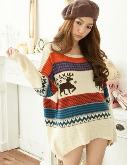 sweater deer jacquard