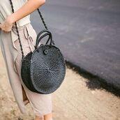 bag,raffia bag,raffia,round bag,grey bag,shoulder bag,round tote