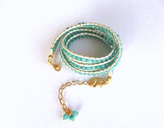 jewels bracelets jewelry mint wrapbracelet boho boho style handmadejewelry womens accessories women gift ideas