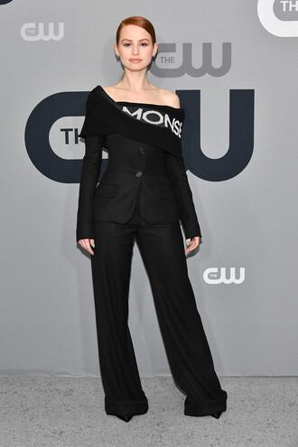 jacket all black everything madelaine petsch celebrity pants off the shoulder suit wide-leg pants
