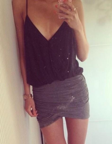 top black top gray skirt skirt dress prom dress