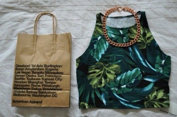 jewels urban outfitters shirt t-shirt green chain gold tropical palm tumblr