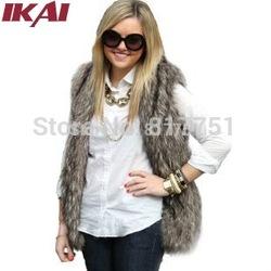 Online shop women faux fur vest winter long vest sleeveless luxury fur coat free shipping big size slim fur vest cap057