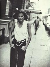 belt,gia,gia carangi,carangi,gia marie carangi,supermodel,boyish,tomboy,1980s,white t-shirt,black high waisted pants