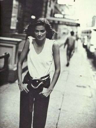 belt gia gia carangi carangi gia marie carangi supermodel boyish tomboy 1980s white t-shirt black high waisted pants