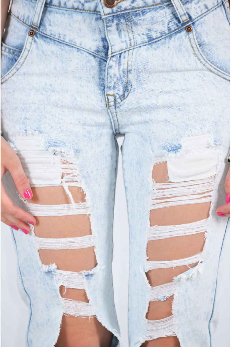 Anafa Acid Wash Distressed Jean