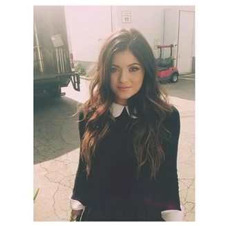 shirt collar peter pan collar kylie kylie jenner black white black and white sweater