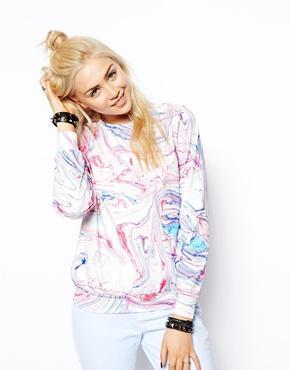 ASOS | ASOS Marble Print Neoprene Sweatshirt at ASOS