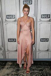 dress,lili reinhart,celebrity,asymmetrical,asymmetrical dress,stripes,bustier dress
