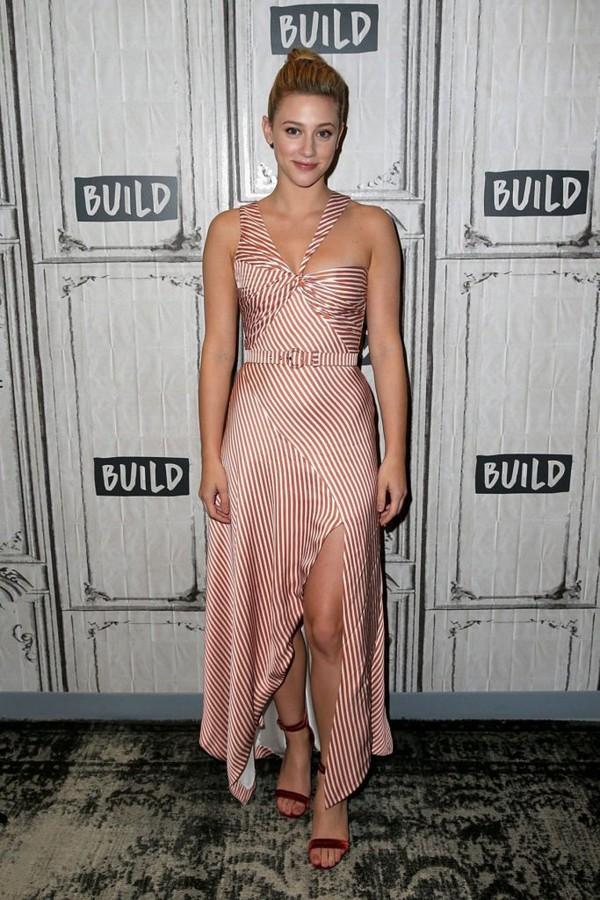 dress lili reinhart celebrity asymmetrical asymmetrical dress stripes bustier dress