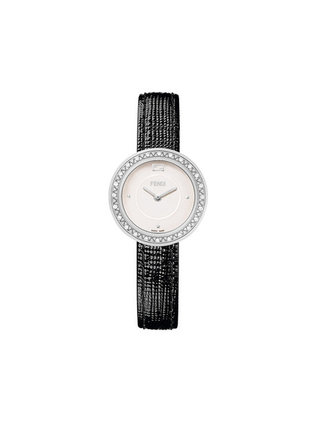 fur fox women watch leather black jewels