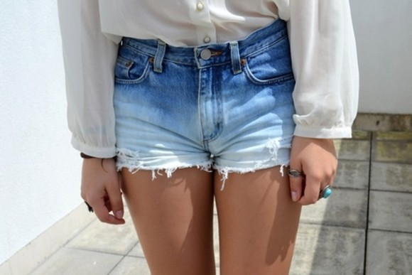 denim vintage sheer boho indie ombré high waisted highwaist high rise ripped jeans retro comfy casual shorts dip dye blue ombre cute