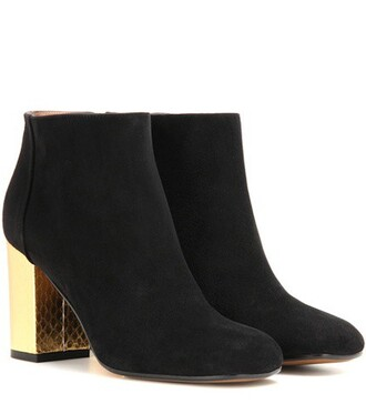 leather ankle boots boots ankle boots leather suede black shoes