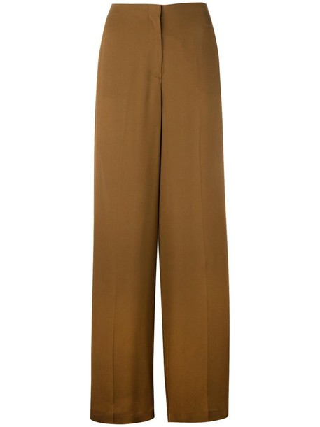 theory high women silk brown pants