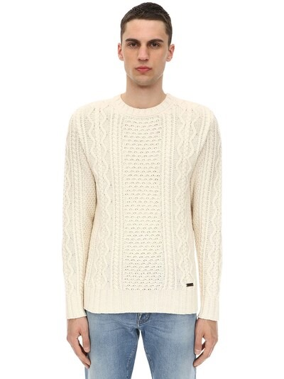 BELSTAFF Wool Blend Aran Knit Sweater Ivory