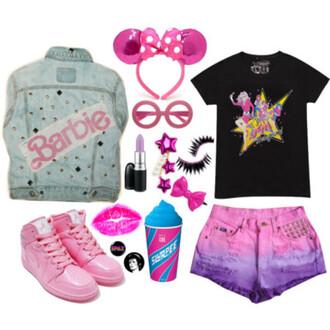 shorts barbie minie jem mac cosmetics cute unicorn pastel blouse