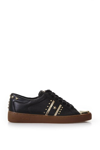studded sneakers leather pale gold black shoes