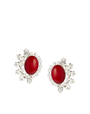 Krystal | Krystal Large Red Swarovski Crystal Stud Earrings at ASOS