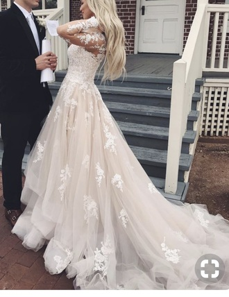 dress wedding blush white