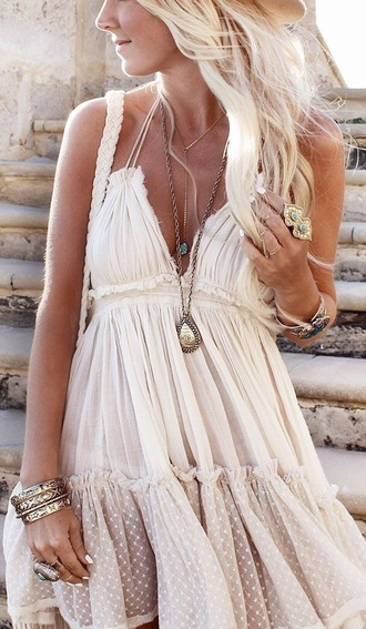 dress white lace boho beach dress blonde boho bohemian boho dress hippie summer beach white lace off-white fashion outfit fashion inspo gypsy chiffon tan holidays trendy style women v dress cotton short dress beautiful summer dress boho chic white dress make-up bag boho chic dress white lace boho dress high heels jewels ist by ingrid blogger shorts hat nude dress gypsy dress lace dress cute dress mini dress