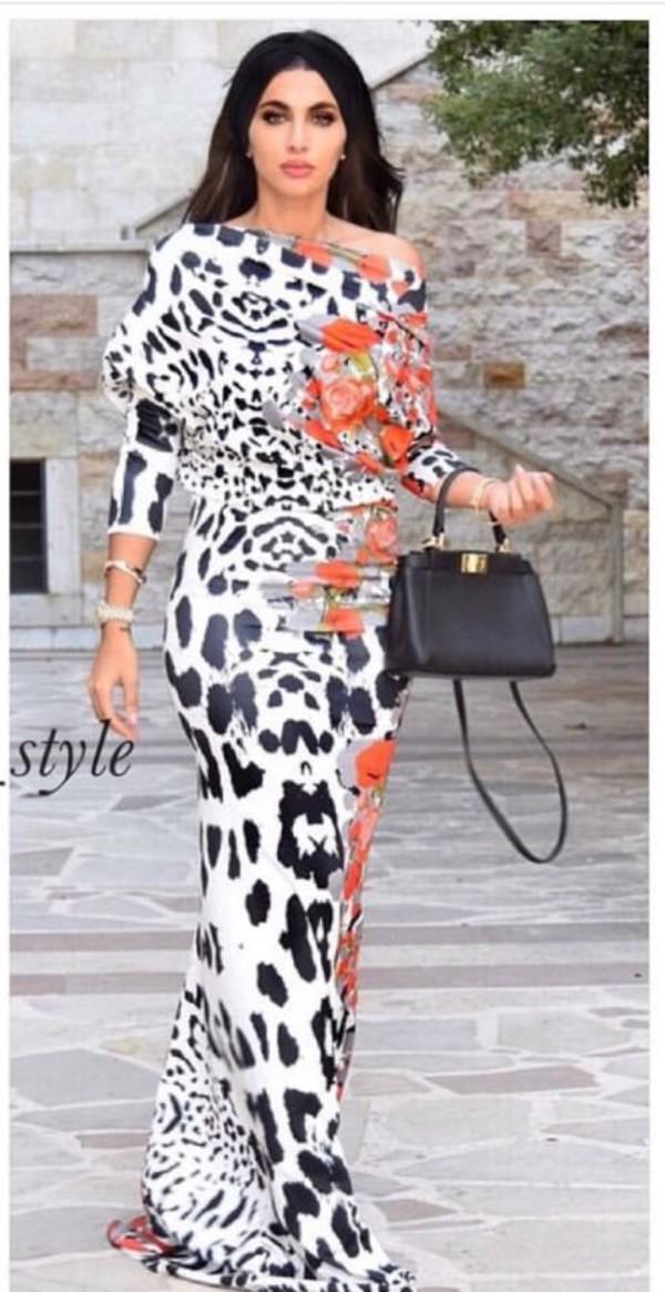 Dress Orange Dress Leopard Print Long Dress Maxi Dress