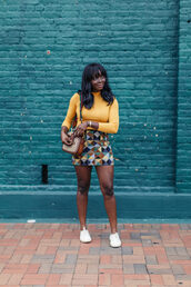 millennielle,blogger,skirt,shirt,bag,long sleeves,yellow top,mini skirt,multicolor,shoulder bag,black girls killin it,black girls slayin,white sneakers,sneakers,gucci,gucci bag,low top sneakers
