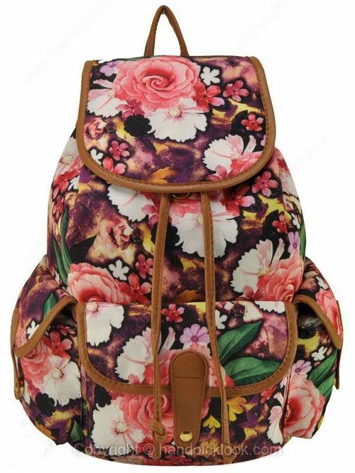 Brown Flowers Pattern Print Drawstring Backpack - HandpickLook.com