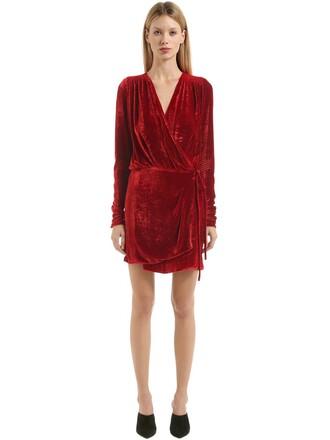 dress wrap dress silk velvet red