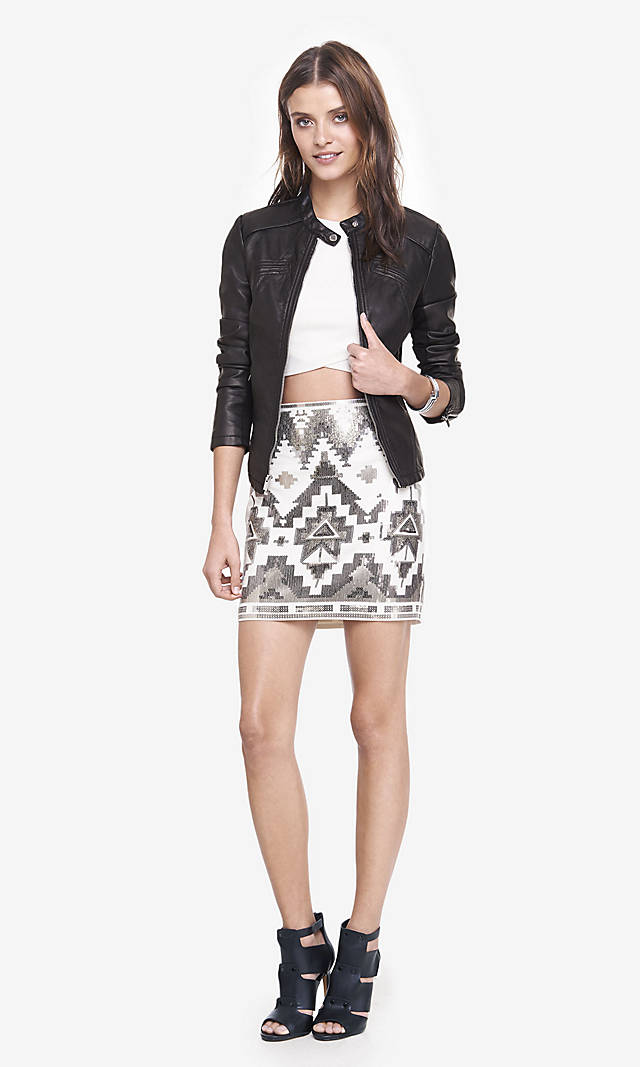 And Silver Aztec Sequin Mini Skirt from EXPRESS