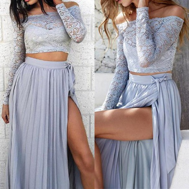 15e756fadf24bc dress clothes lace lace top lace dress sexy lace set maxi skirt chiffon  skirt off the
