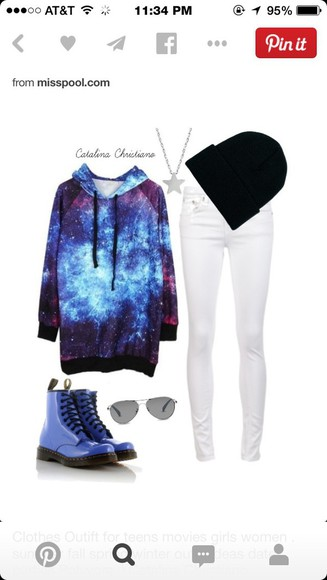 blue boots galaxy sweater white jeans black beanie sunglasses star necklace