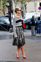 skirt,work outfits,midi skirt,pleated skirt,sweater,grey sweater,office outfits,pumps,pointed toe pumps,pink pumps,high heel pumps,fall outfits,streetstyle,sunglasses,bag,red bag,shoulder bag