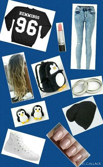 bag luke hemmings penguin jeans ring lipstick shade 5 seconds of summer 5sos sweatshirt long hair earrings