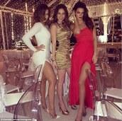 dress,red dress,red,open leg dress,long gown,kardashians,classy,sexy,sassy,christmas party,long dress,silk,kendall jenner