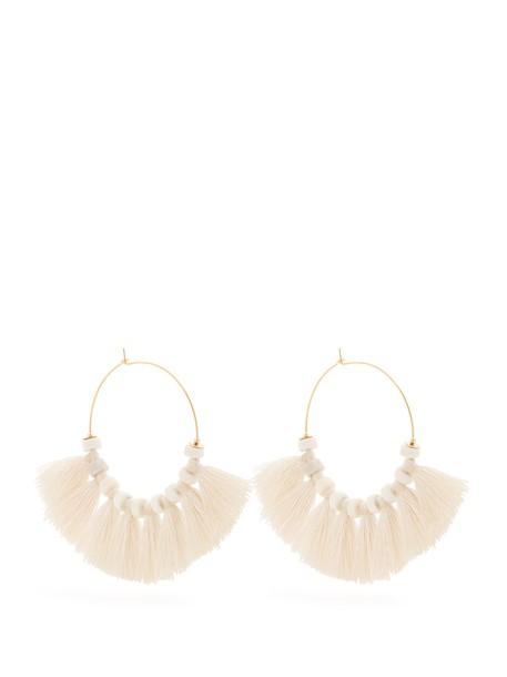 tassel embellished earrings hoop earrings white jewels