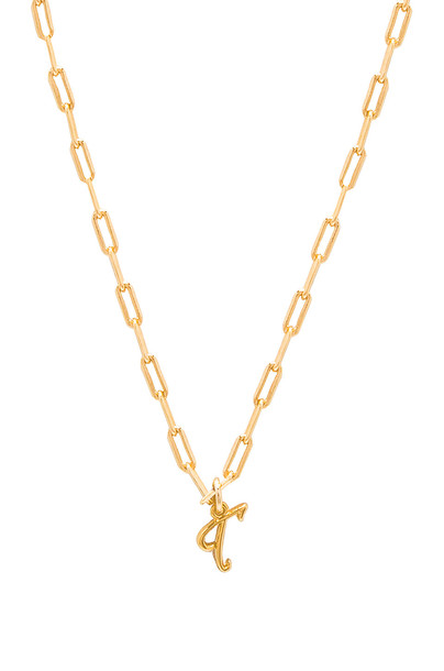 joolz by Martha Calvo T Initial Necklace in gold / metallic